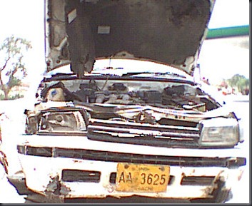 Crash , 30 June 2001 : Slipped off from highway into Canal, 18 feet down, All 3 Passengers and Driver ME were fine, But before Being Vampire she smashed herself.